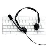 Headphones sitting on keyboard