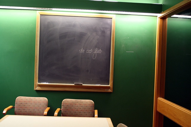 Classroom chalkboard with English words
